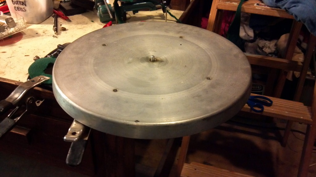 "The 16"" platter, stripped, cleaned and ready for re-felting"