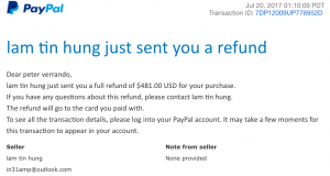 Fake MKH416 refund received! Thanks,  Lam Tin Hung!